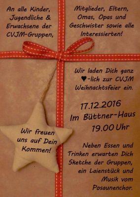 Herzliche Einladung zur CVJM Weihnachtsfeier